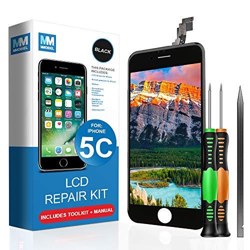 MMOBIEL LCD Display Touch Screen Digitizer Ersatz für iPhone 5C (Schwarz) Professionelles Reparatur Set mit einfacher Anleitung