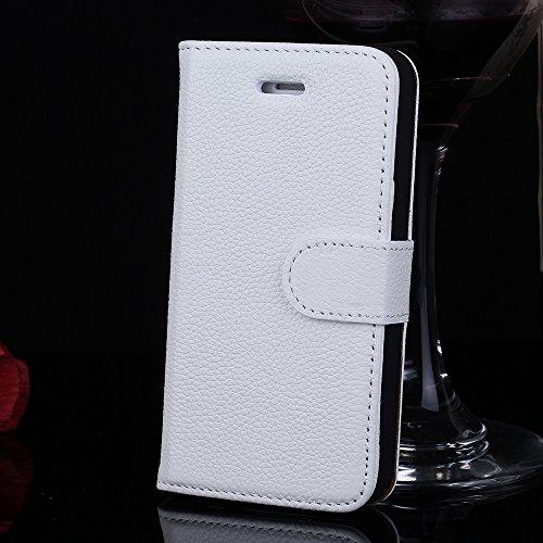 iPhone 5 5s Echt Ledertasche,EVERGREENBUYING - Litchi Stil Handyhülle Für iPhone SE / 5g Aufklappbare Echtes Leder Bookstyle Schutzhülle im Flip Etui Cover Style Für iPhone SE / 5 / 5S Rot Weiß