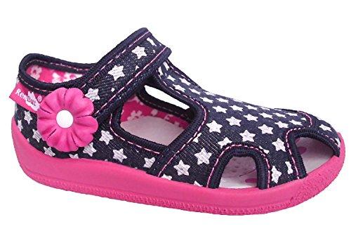 Renbut Mädchen Baby Hausschuhe Ballerinas Sandalen Sterne Blume Klettverschluss Blau Navy Pink Blau