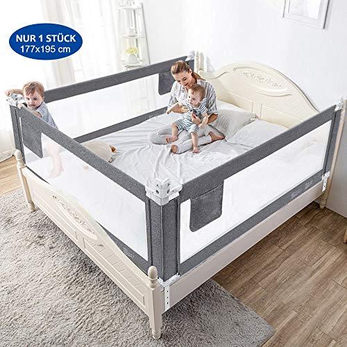 Bettgitter 180cm Bettschutzgitter Kinderbettgitter Babybettgitter Gitter Kinderbett Fallschutz Bett, Grau, 1 Stück Bettgitte [Versand durch Amazon]