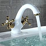 YSRBath Moderne Waschbecken Waschtischarmatur Antike Kupfer heiß und Cold-White Farben-mischer Mischbatterie Bad Küche Wasserhahn Badarmatur