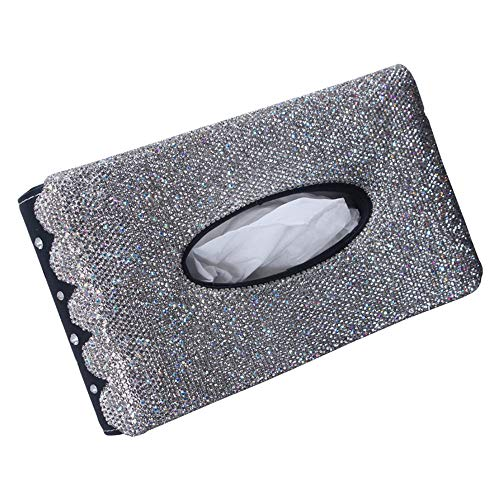 Sonnenblende Tissue-Box, Auto Auto Tablett, Persönlichkeit mit Kristall Ornamente Papierhandtuchhalter Leder Kristall Papierhandtuch Set Damen