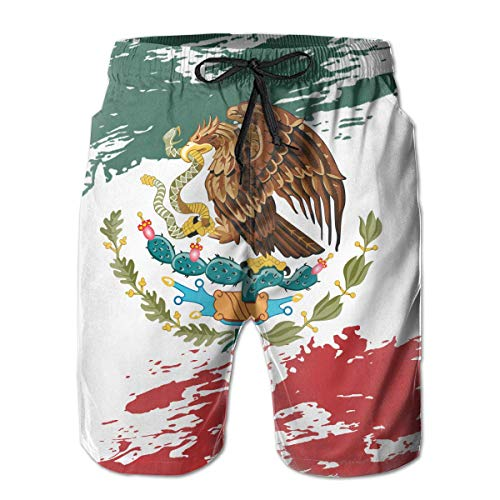 Nacasu Men's Swim Trunks Mexican Flag Casual Sportswear Quick Dry Beach Shorts for Boys Summer M