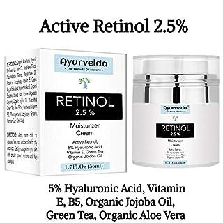 2.5% Active Retinol Moisturizer Face Cream Serum with 5% Hyaluronic Acid, Vitamin E & Organic Jojoba Oil