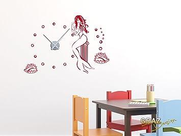 sticker mural décoration avec horloge sirène coquillage fille pour