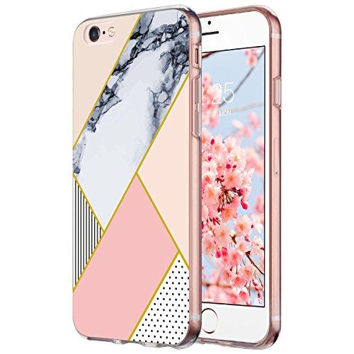 Cover iPhone 6 6S, ULAK iPhone 6S Custodia Cover Case Caso Trasparente Crystal Clear Silicone Gel Ultra Slim Premium semi-trasparente / Adesione accurate / non dolce Dimensioni per iPhone 6 6S - Crist Marmo Rosa