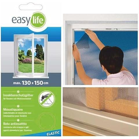 Fabulosa mosquitera elástica para la ventana - 130 x 150 cm - color blanco