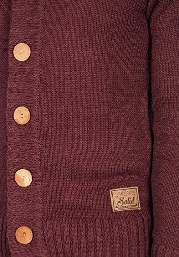 SOLID Pete Herren Strickjacke Cardigan Grobstrick mit Stehkragen aus hochwertiger Baumwollmischung Wine Red Melange (8985)