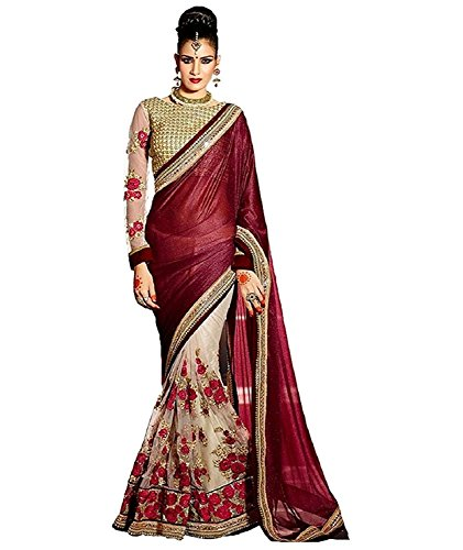 Saree By Saree Mandir Women\'s Velvet & Net Saree With Blouse Piece (P_Maroon & White)