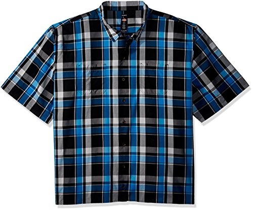 Dickies Men's Big and Tall Yarn Dyed Short Sleeve Camp Shirt, Blue/Black Plaid, 5T -