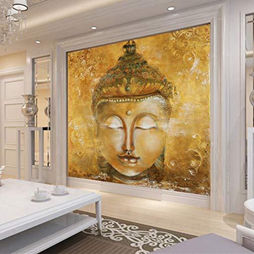 3D Custom Vintage Goldene Buddha Fototapete Schlafzimmer Hotel Wohnzimmer Yoga Kunst Innendekoration Tempel Religion, 150 * 105