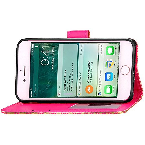 Apple iPhone 6 Plus/6S Plus 5.5 Coque, Voguecase Étui en cuir synthétique chic avec fonction support pratique pour Apple iPhone 6 Plus/6S Plus 5.5 (léopard-Jaune)de Gratuit stylet l'écran aléatoire un léopard-Rose