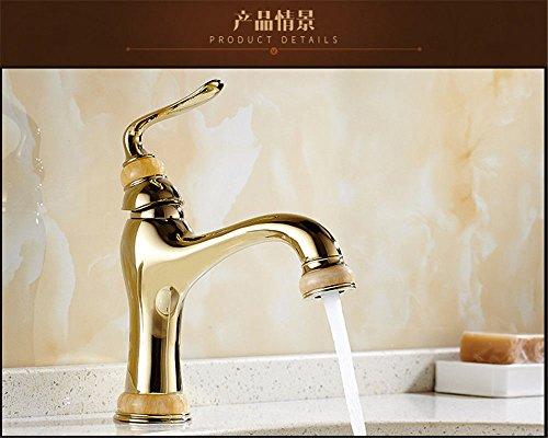 Hlluya Wasserhahn für Waschbecken Küche Das Kupfer wassergekühlten Kühlkörper Eitelkeit-Badezimmer Golden Jade Marmortisch Waschbecken Wasserhahn