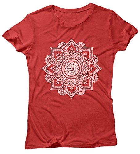 LaMAGLIERIA Camiseta Mujer Mandala White Print Man01 - Camiseta 100% Algodòn, S, Rojo