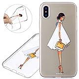 e7e8a5f86ef Funda para iPhone X, Case Cover para iPhone X, ISAKEN Pintura Diseño  Crystal View