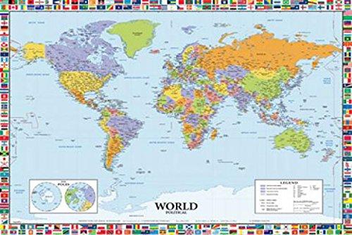 1art1 Poster Weltkarte, 91 x 61cm, in englischer Sprache Ohne Rahmen (Sprachen Weltkarte)