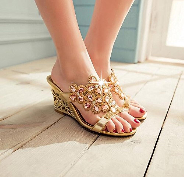 KHSKX Verano Sandalias Zapatos De Cuñas Sandalias Damas Cristal De Diamante Diamante Zapatos De Mujer De Boca...