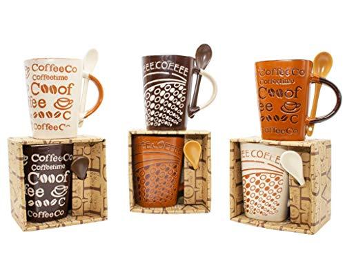 Lote de 12 Tazas de Cerámica Decorativas con Cuchara'Coffee' (Surtidas) en Caja. Recuerdos. Regalos Originales. Detalles de Bodas, Comuniones, Bautizos, Cumpleaños. DC