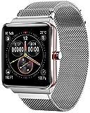 Drohneks H10 Smart Fitness Bracciale Uomo Schermo a Colori Cardiofrequenzimetro Pressione sanguigna Smart Wristband Activity Tracker Smart Watch Uomo, Argento