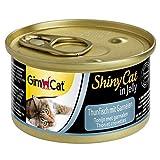 GimCat ShinyCat in Jelly Thunfisch mit Garnelen, Nassfutter mit Fisch für Katzen, Katzenfutter mit Taurin in köstlichem Gelee, Ohne Zuckerzusatz und glutenfrei, 24 Dosen (24 x 70 g)