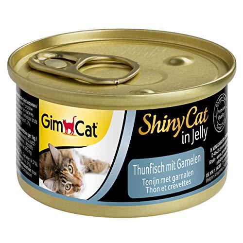 GimCat ShinyCat in Jelly - Comida para gatos con pescado en gelatina para gatos adultos - Atún con gambas - 24 latas (24 x 70 g)