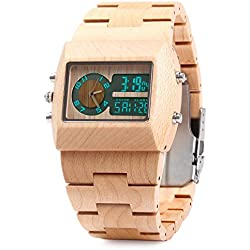 Bewell-ZS-W021A Natural Bamboo Wooden Watches Men Quartz Watch Wrist Watch with Date, Alarm, Chime Alarm and Double Movement Luminous Display (Light yellow)
