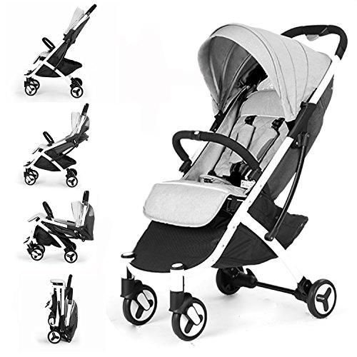 Allis® Lightweight Baby Pram Pushchair Buggy Travel Stroller Plume - Grey