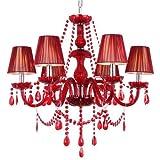 GBYZHMH Araña europea de high-end de boda candelabro de cristal rojo candelabro de cristal restaurante araña araña roja lampade dormitorio pulido por uso domestico