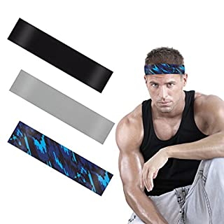 ANPHSIN 3Pack Dehnbar Sport Stirnband, Antibakteriell Schnell Trocknend Schweißbänder Kopf für Laufen, Radfahren, Yoga, Basketball (style2)