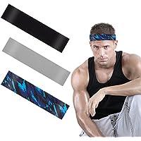 ANPHSIN 3Pack Dehnbar Sport Stirnband, Antibakteriell Schnell Trocknend Schweißbänder Kopf für Laufen, Radfahren, Yoga, Basketball