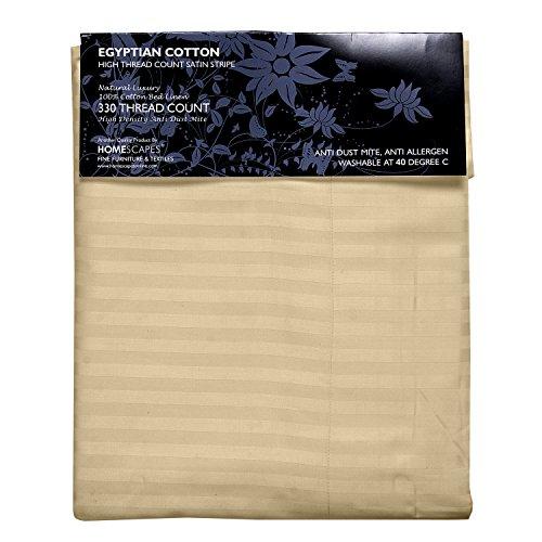 Homescapes 3 teilige Damast Bettwäsche 240 x 220 cm vanille 100% ägyptische Baumwolle Fadendichte 330
