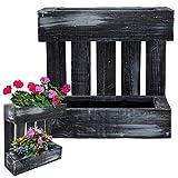 Jardinera de pared con palets de proheim 43,5 x 43 x 14 cm en color negro 'Black Live Line' hecha al 100% de madera estable FSC