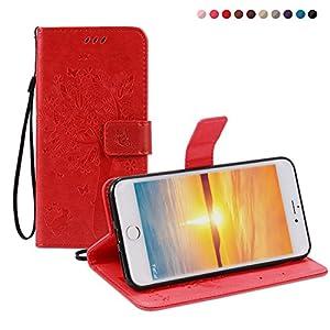 Fatcatparadise Cover iPhone 8 Plus/iPhone 7 Plus [Vetro Temperato Screen Protector], (Gatto e Albero Serie) Retro Flip Caso Custodia Silicone PU per Apple iPhone 8 Plus/iPhone 7 Plus (Rosso)
