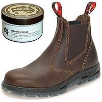 Redback UBJK Work Boots aus Australien - Unisex + 250 ml Lederpflege   Jarrah-Brown