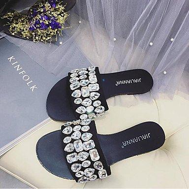 LFNLYX Chaussures d'été féminins nouveau chaussons pierres plates sandales et télévision avec les poissons femelles bouche ouverte toe mot traîné de chaussons femmes Black