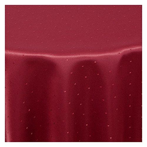 Tischdecke Stoff Damast Jacquard Textil Tischtuch Punkte Dots Points Sonderposten oval 135x180 cm in Wein-Rot -