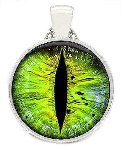 Merchandise for Fans Kette fluoreszierend/nachtleuchtend mit Cabochon 25mm Motiv: Auge/Drachenauge Pupille Iris grün - 02 - Augen-iris