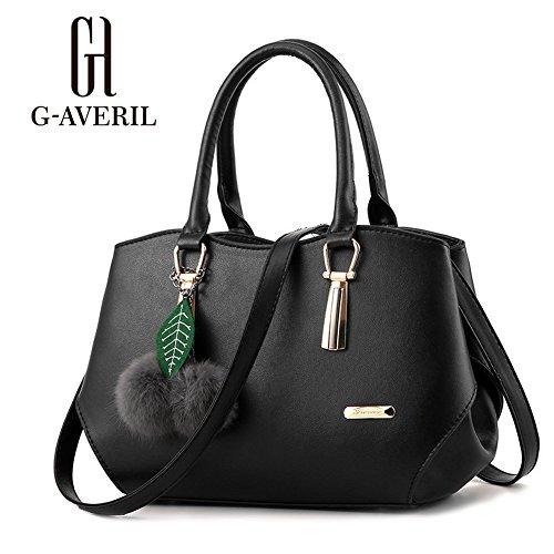 (G-AVERIL) PU pelle Donna borsa Designer Bag Fashion Borsa a Spalla Borse a Mano nero
