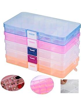 Fächer Aufbewahrungsbox ,Tatuer Klar Sortierboxen Plastik Aufbewahrungsbox Schmuckkasten Einstellbar Sortimentskasten...