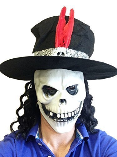 Slash-Stil Totenkopf-Latex Maske mit Hut Guns Roses Fancy Dress Junggesellenabschied