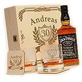 6 pcs Cadeau Whisky Jack Daniels Ensemble avec No.7 | 2 Verres de Whisky, 2 Verres et Bouteilles de Whisky dans Un Coffret Cadeau personnalisé Gravé - Anniversaire - Motive Anniversaire