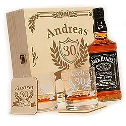 polar-effekt 6-TLG Whisky Geschenk-Set mit Jack Daniels No.7   2 Whiskygläser, 2 Untersetzer und Whiskey Flasche in Geschenk-Box Personalisiert mit Gravur - zum Geburtstag - Motiv Jubiläum