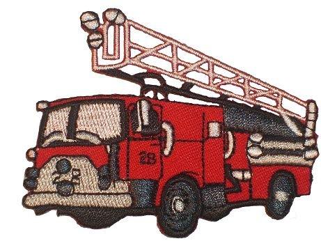 alles-meine.de GmbH Feuerwehr - 7,4 cm * 5,8 cm - Bügelbild / Feuer Auto Wagen - Fahrzeug Aufnäher Applikation Aufbügler - Feuerwehrauto - Feuerwehr-applikationen