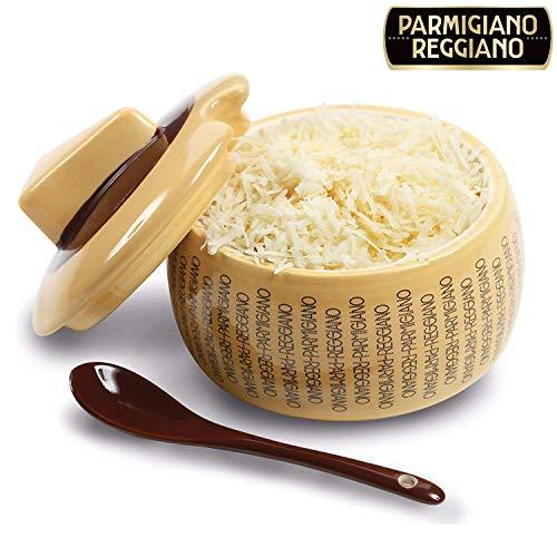 Quesera parmesano reggiano en cerámica grande con cucharilla para 150 g de queso