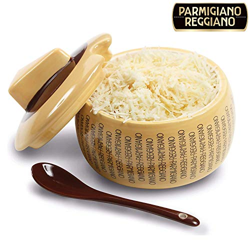 Formaggiera parmigiano reggiano in ceramica grande con cucchiaio