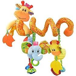 Happy Cherry-Spirale d'activités de Lit bébé Girafe Eléphant Jouets Poussettes pour Dormir siège bébé voiture Cadeaux Baby Bed Toy Activity-Spirale Stripes - Jaune