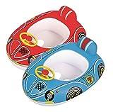 Jllong Baby Boot Kinderboot Kinder Schwimmboot Auto Schwimmhilfe Schwimmsitz Schwimmring Car mit Lenkrad und Hupe 2 Farben zur Auswahl (Rot)