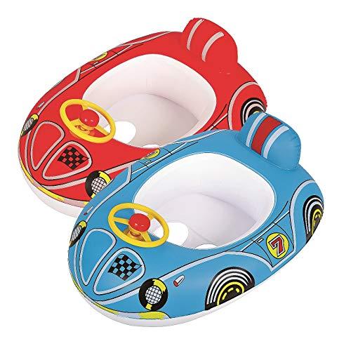 Jllong Baby Boot Kinderboot Kinder Schwimmboot Auto Schwimmhilfe Schwimmsitz Schwimmring Car mit Lenkrad und Hupe 2 Farben zur Auswahl (Blau)