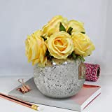 TIED RIBBONS Faux Yellow Rose Flowers with Mercury Glass Vase for Home Decor, Center Table, Bedroom, Side Corners, Living Room, Dining Room, Office Decoration
