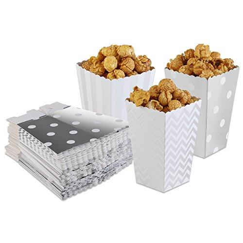 rn Boxen Taschen Streifen Polka Punkt Silber 50Stück ()